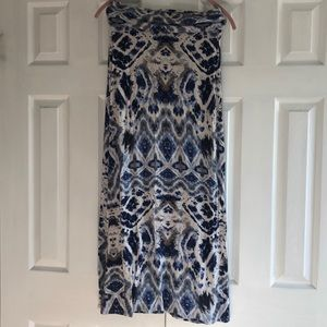 Maxi Skirt with Blue and Grey Pattern